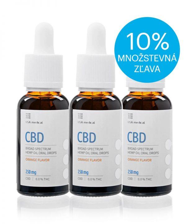 USA medical Oral Drops 250mg CBD olej 30 ml - set3x-zlava