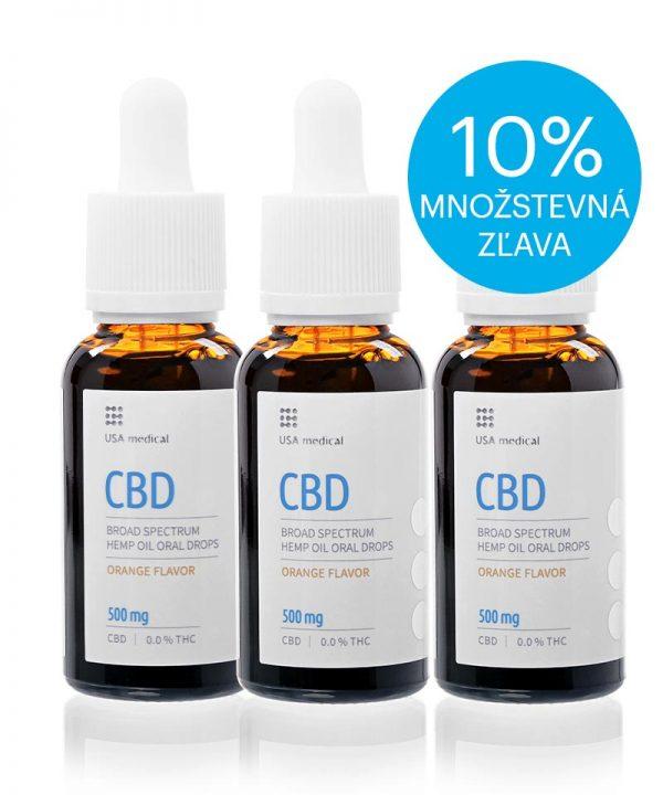 USA medical Oral Drops 500mg CBD olej 30 ml - 3xset - zlava