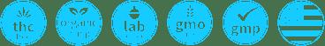 CBD pictogram bez THC, Organické konope, laboratorne testovane, bez gmo